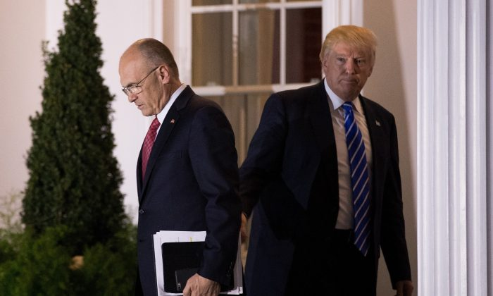 Andrew Puzder, chief executive of CKE Restaurants, exits after his meeting with president-elect Donald Trump at Trump International Golf Club, in Bedminster Township, New Jersey on Nov. 19, 2016. (Drew Angerer/Getty Images)