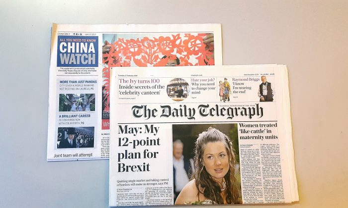 The UK's Daily Telegraph newspaper carried the China Watch supplement on 17 January 2017 (Jane Gray/Epoch Times)