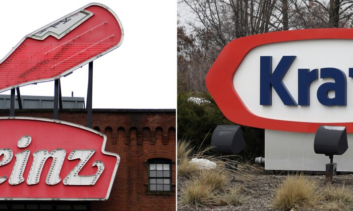 At left, a Heinz ketchup sign is shown on the side of the Senator John Heinz History Center in Pittsburgh. At right, the Kraft logo appears outside of their headquarters in Northfield, Ill. U.S. food giant Kraft Heinz Co. (AP Photo/File)