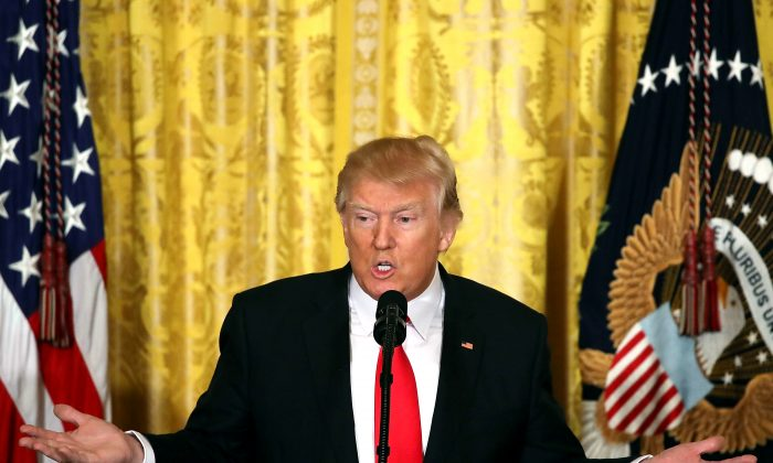 President Donald Trump speaks during a news conference announcing Alexander Acosta as the new Labor Secretary nominee in the East Room at the White House in Washington on Feb. 16, 2017. The announcement comes a day after Andrew Puzder withdrew his nomination. (Mark Wilson/Getty Images)