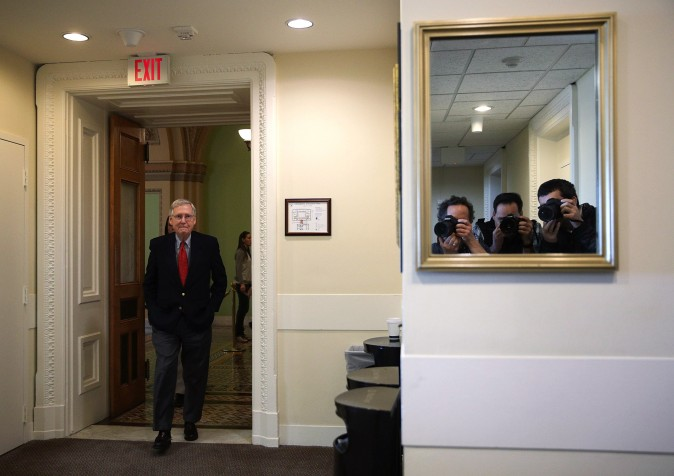 U.S. Senate Majority Leader Sen. Mitch McConnell (R-KY) arrives for a news conference on Capitol Hill on Feb. 17, 2017. (Alex Wong/Getty Images)