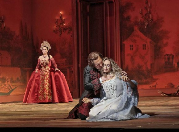 Katarina Dalayman as the Foreign Princess, Brandon Jovanovich as the Prince, and Kristine Opolais in the title role of Dvořák's Rusalka. (Ken Howard/ Metropolitan Opera)