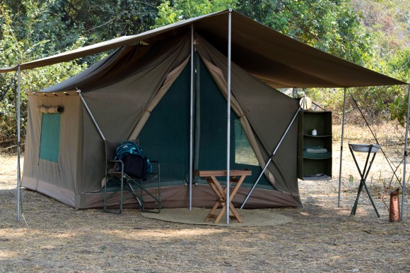 A Robin Pope Safaris spacious mobile walk-in tent with full bedding. (Giannella M. Garrett)