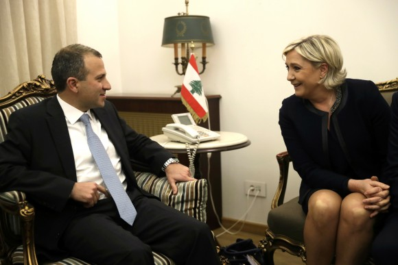 Lebanese Foreign Minister Gibran Bassil (L) meets with conservative French leader and presidential candidate Marine Le Pen (R) in Beirut, Lebanon on Feb. 20, 2017. The National Front leader is hoping to burnish her credentials as a defender of Christians in the Middle East, ahead of France's April 23 presidential elections. (AP Photo/Hussein Malla)