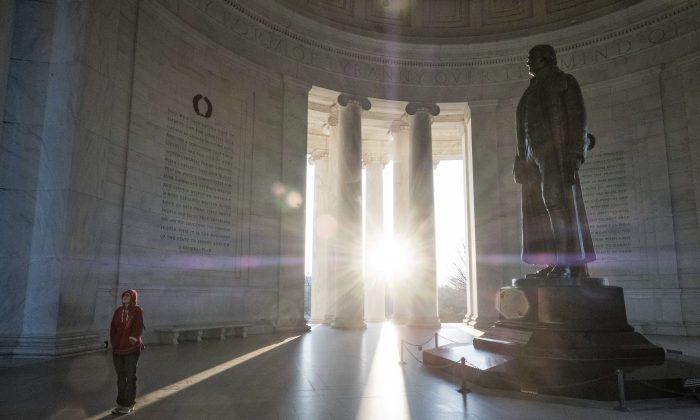 The Thomas Jefferson Memorial on the Presidents Day holiday, in Washington on Feb. 20, 2017. (AP Photo/J. David Ake)