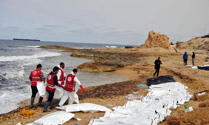 The bodies of people that washed ashore and were recovered by the Libyan Red Crescent, near Zawiya, Libya on  Feb. 20, 2017. (Mohannad Karima/IFRC via AP)