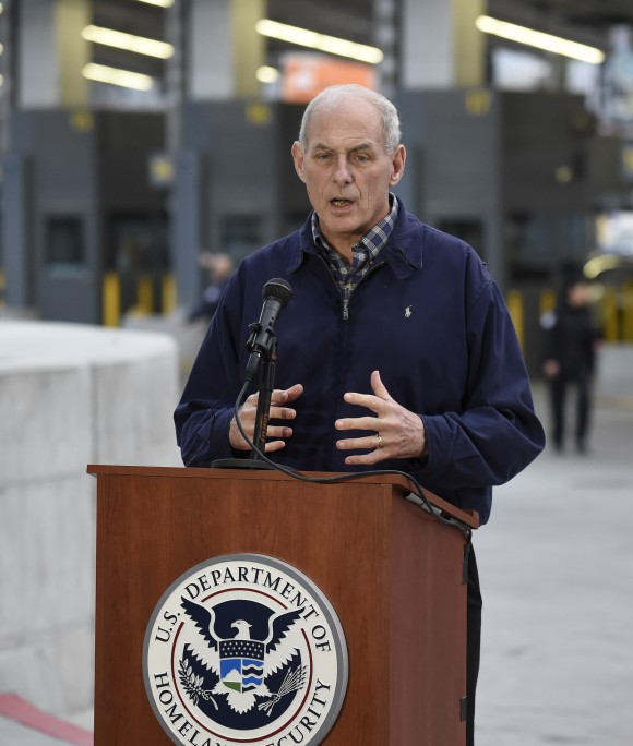 The Department of Homeland Security (DHS) Secretary John Kelly at a press conference at the San Ysidro Port of Entry on Feb. 10. (AP Photo/Denis Poroy) (AP Photo/Denis Poroy)