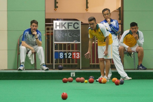 (L-R)- Neil Herrington (HKFC-B), Jordi Lo (CCC-A), Kenny Tam ( HKFC-B) and Bronson Fung (CCC-A) playing in the HKLBA men's Triples league on Saturday Feb 18, 2017. (Mike Worth)