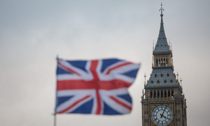 A Union Jack flag flutters in front of the Elizabeth Tower, commonly known as Big Ben in London, England on Feb. 1, 2017. (Jack Taylor/Getty Images)