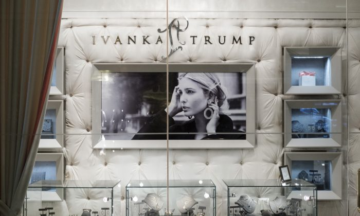 A view of jewelry for sale at the 'Ivanka Trump Collection' shop in the lobby at Trump Tower in New York City on Feb. 10, 2017. (Drew Angerer/Getty Images)