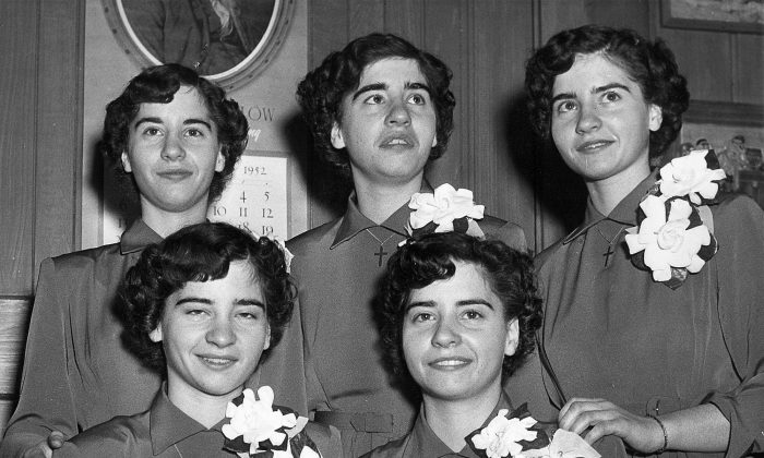 The Dionne quintuplets at age 16 in 1952. (The Canadian Press/CP)