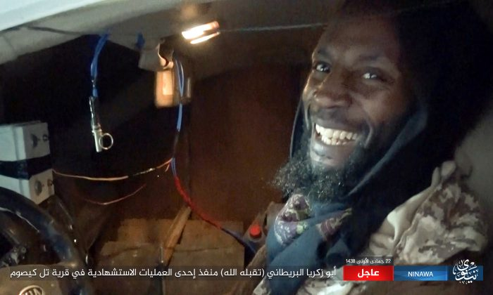 This photo released by Ninawa State – a media arm of the ISIS terrorist group on  Feb. 21, 2017 shows Abu Zakariya al-Britani, suicide bomber who attacked a military base in Iraq this week who was a former Guantanamo Bay detainee freed in 2004 after Britain lobbied for his release. (Ninawa State via AP)