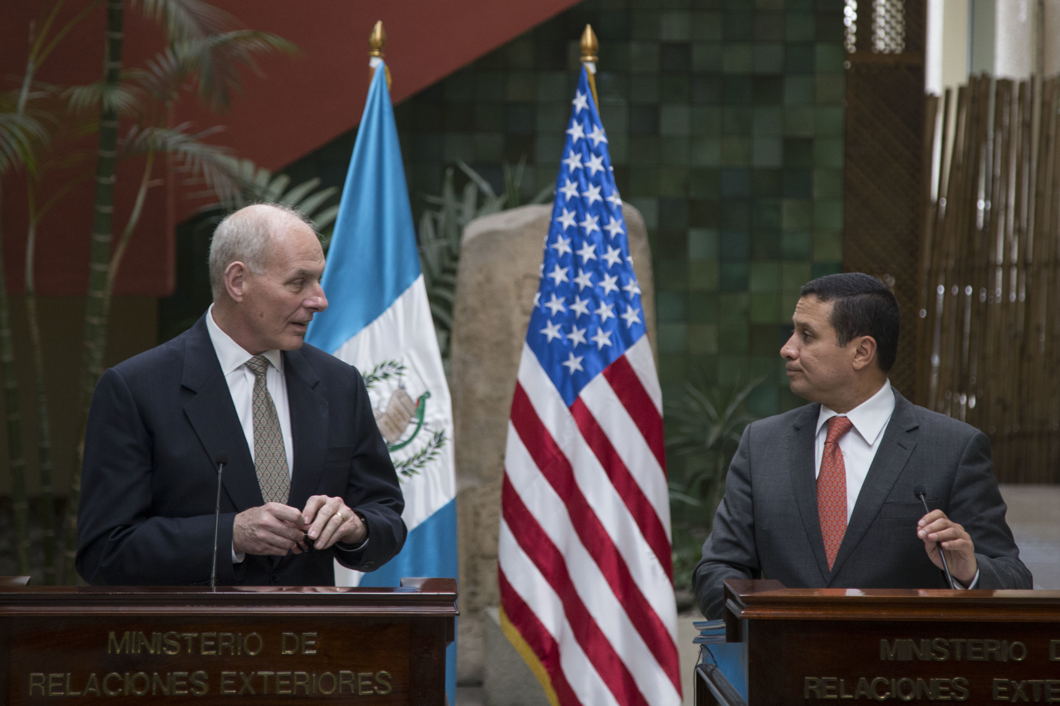 U.S. Secretary of Homeland Security John F. Kelly (L) and Guatemala's Foreign Minister Carlos Morales give a joint press conference at the Foreign Affairs Ministry in Guatemala City on Feb. 22, 2017. (AP Photo/Luis Soto)