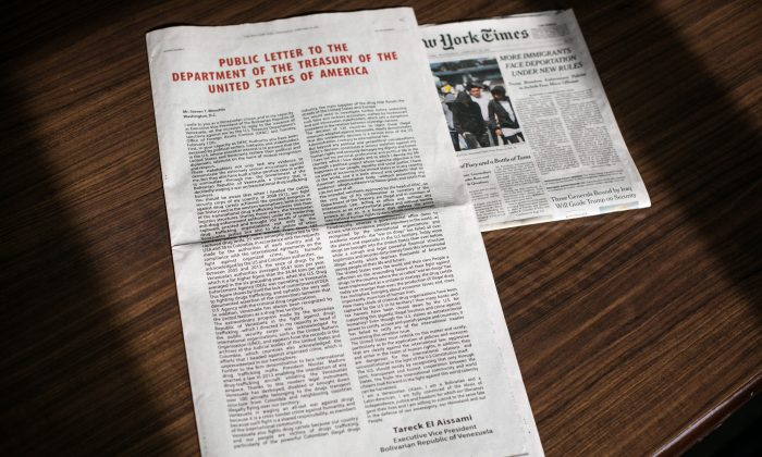 An advertisement from Tareck El Aissami, the Executive Vice President of Venezuela, to the Treasury of the United States inside the New York Times edition on Feb. 22, 2017. (Benjamin Chasteen/Epoch Times)