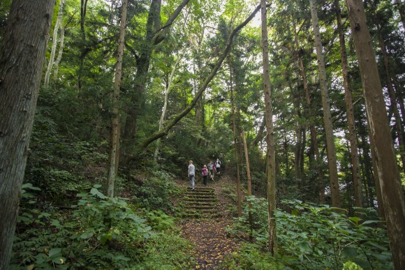 Walking along the trail to Chusonji Temple in Hiraizumi. (Annie Wu/Epoch Times)