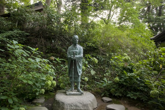 A Basho statue inside Chusonji Temple in Hiraizumi. (Annie Wu/Epoch Times)