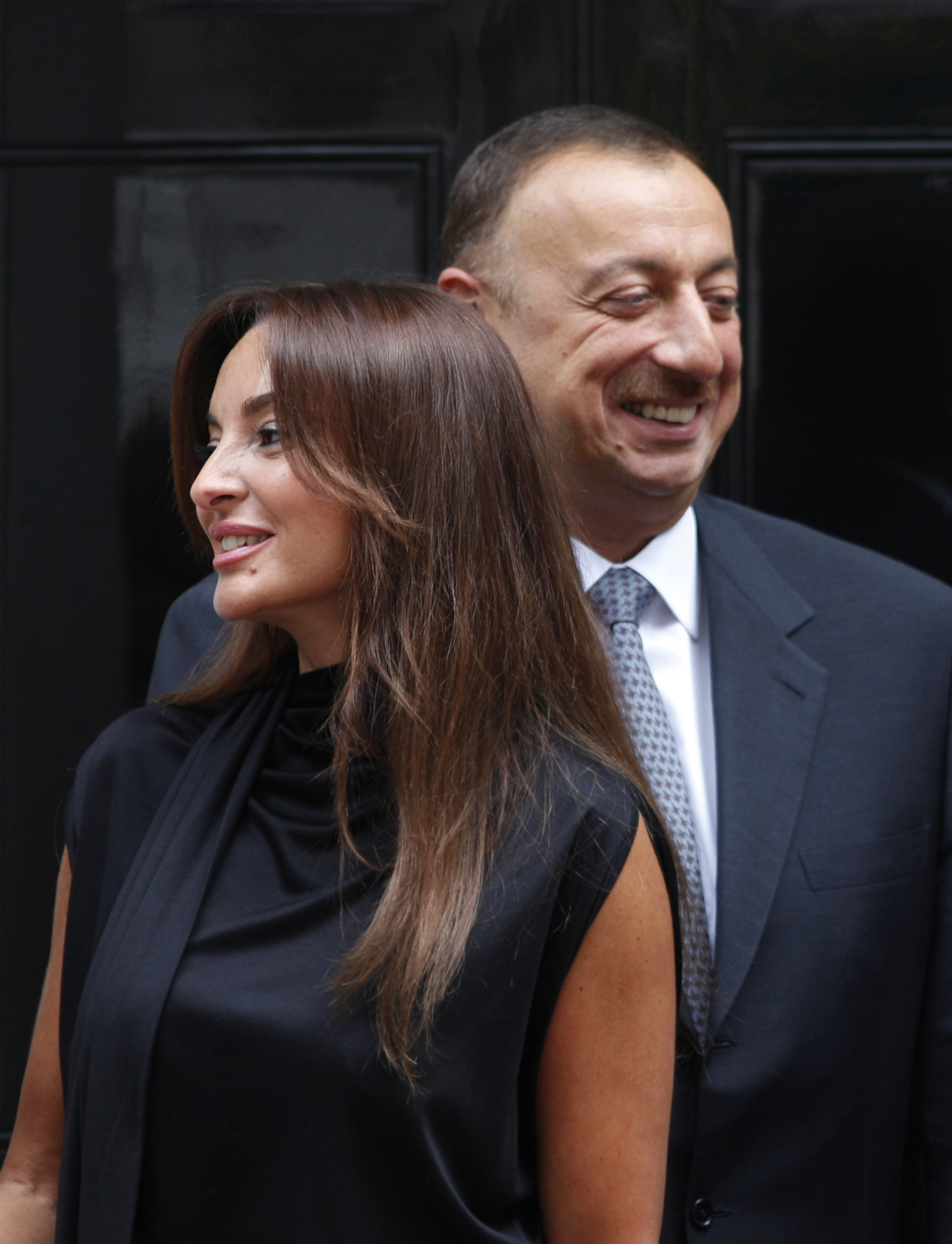 Azerbaijan's President Ilham Aliyev and his wife Mehriban Aliyeva outside the official residence at 10 Downing Street in central London on  July 13, 2009. (AP Photo/Lefteris Pitarakis)