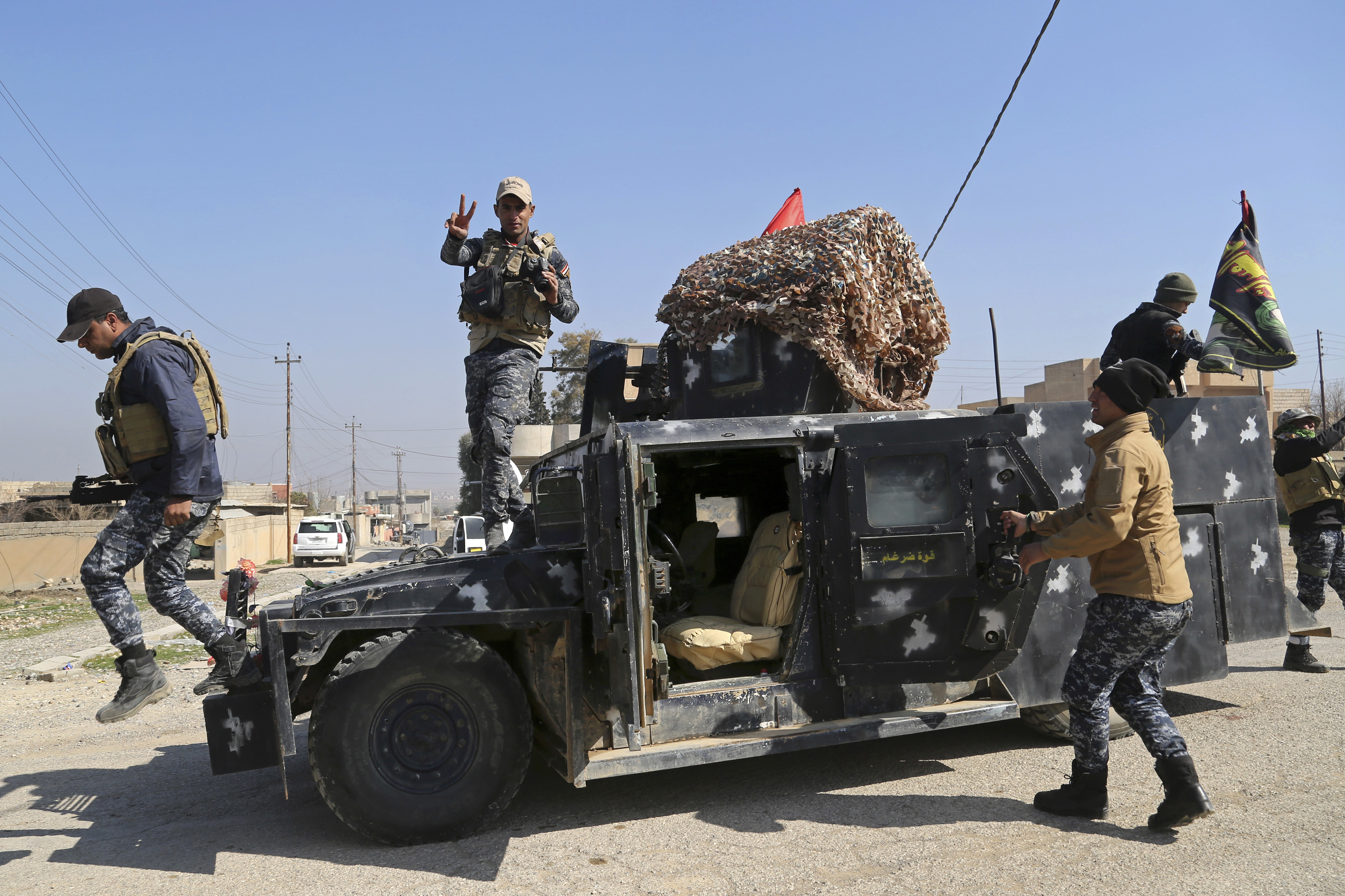 Iraqi Federal police deploy after regaining control of the town of Abu Saif, west of Mosul, Iraq on Feb. 22, 2017. (AP Photo/Khalid Mohammed)