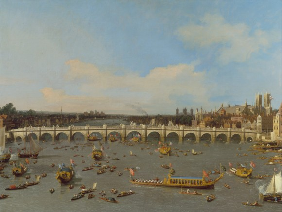 """Westminster Bridge, with the Lord Mayor's Procession on the Thames"" by Canaletto. (public domain)"