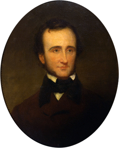 An 1845 portrait of Edgar Allan Poe by Samuel Stillman Osgood. (public domain)