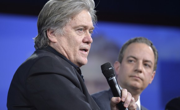 White House Chief Strategist Steve Bannon (L) and White House Chief of Staff Reince Priebus at the Conservative Political Action Conference (CPAC) in National Harbor, Maryland, on Feb. 23. (MIKE THEILER/AFP/Getty Images)