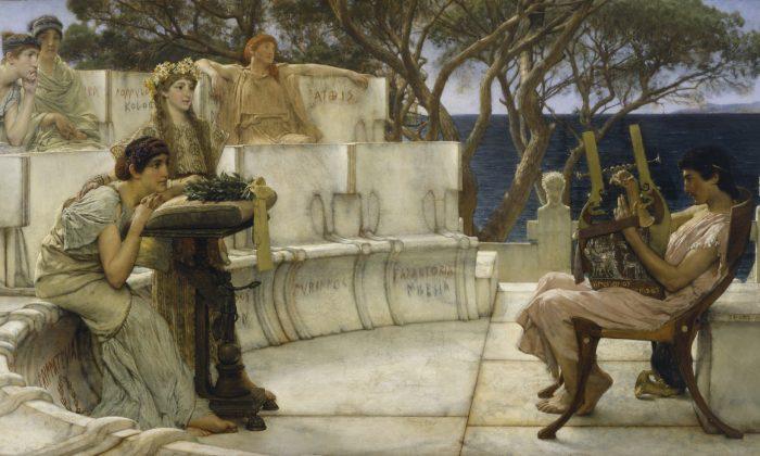 """Sappho and Alcaeus"" by Lawrence Alma-Tadema. (public domain)"