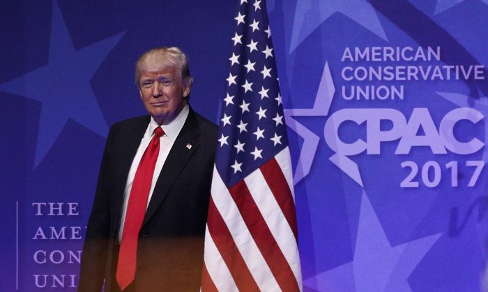 President Donald Trump walks on stage prior to his address to the Conservative Political Action Conference at the Gaylord National Resort and Convention Center in National Harbor, Maryland on Feb. 24, 2017. Hosted by the American Conservative Union, CPAC is an annual gathering of right wing politicians, commentators and their supporters. (Alex Wong/Getty Images)