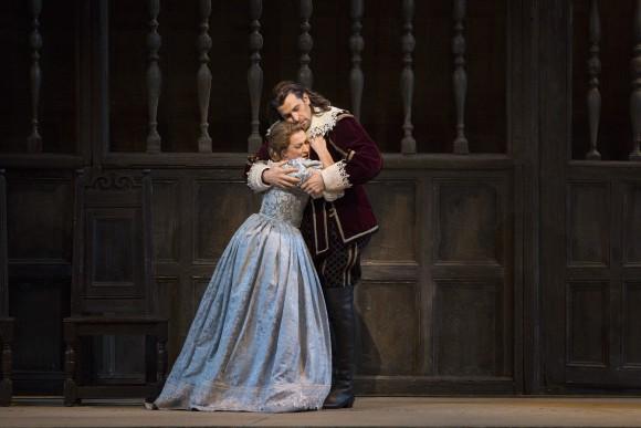 "Diana Damrau as Elvira and Luca Pisaroni as Giorgio in Bellini's ""I Puritani."" (Marty Sohl/Metropolitan Opera)"