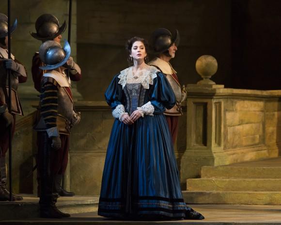 Virginie Verrez as Enrichetta, the widow of the king of England. (Marty Sohl/Metropolitan Opera)