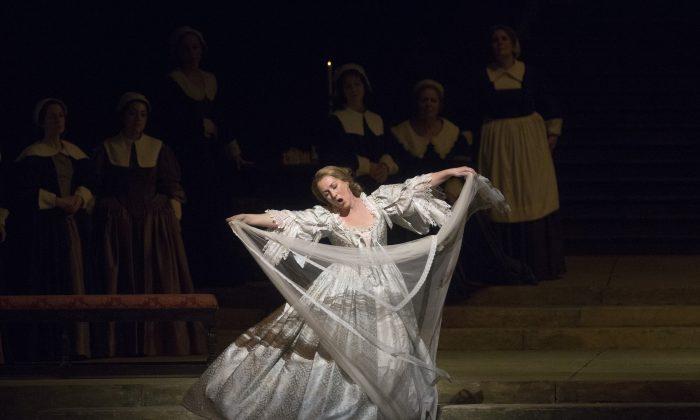 Diana Damrau is splendid in her made scene as Elvira in Bellini's I Puritani. (Marty Sohl/Metropolitan Opera)