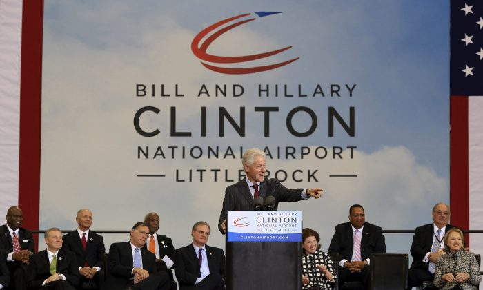 In this May 3, 2013, file photo, former President Bill Clinton speaks at ceremonies in Little Rock, Ark., to dedicate the Bill and Hillary Clinton National Airport. (Staton Breidenthal/The Arkansas Democrat-Gazette via AP, File)