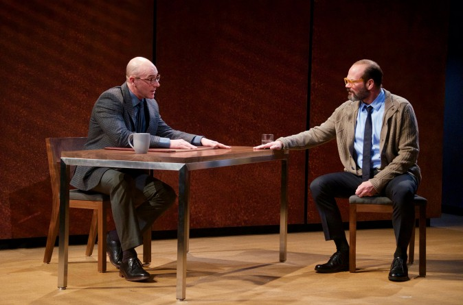 (L–R) Jordan Lage and Chris Bauer in the world premiere of David Mamet's The Penitent, directed by Neil Pepe (Doug Hamilton)