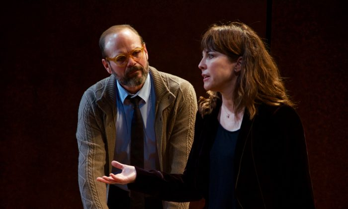 (L–R) Chris Bauer and Rebecca Pidgeon in the world premiere of David Mamet's The Penitent, directed by Neil Pepe (Doug Hamilton)