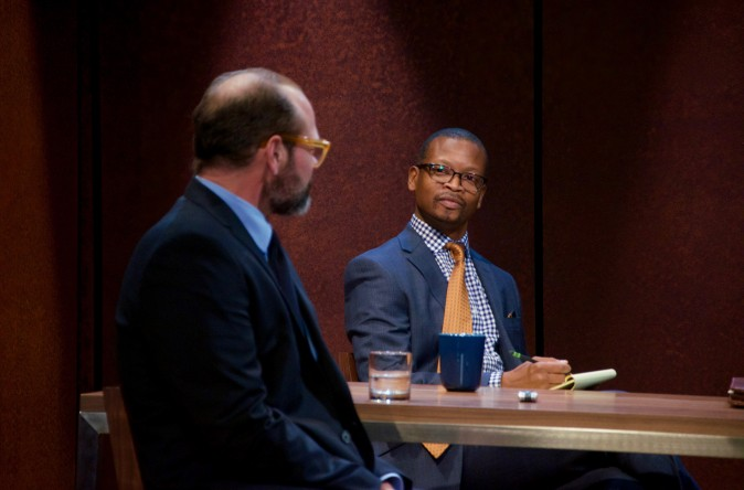 (L–R) Chris Bauer and Lawrence Gilliard Jr. in the world premiere of David Mamet's The Penitent, directed by Neil Pepe (Doug Hamilton)