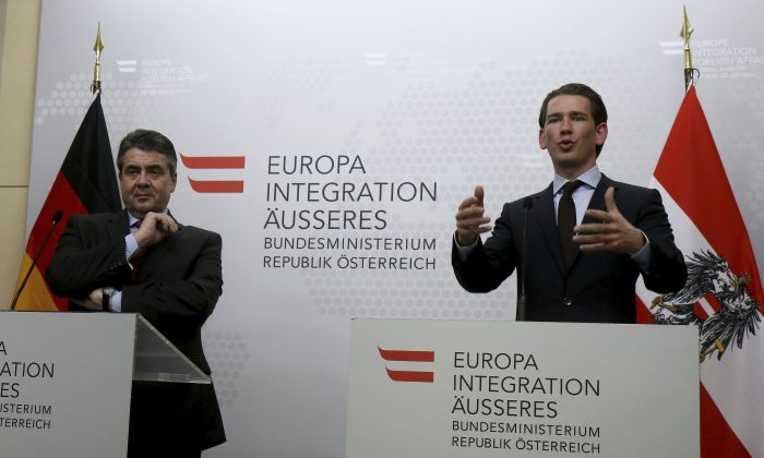 German Minister of Foreign Affairs Sigmar Gabriel and Austrian Foreign Minister Sebastian Kurz, from left, address the media after a meeting at the foreign ministry in Vienna, Austria on Feb. 27, 2017. (AP Photo/Ronald Zak)