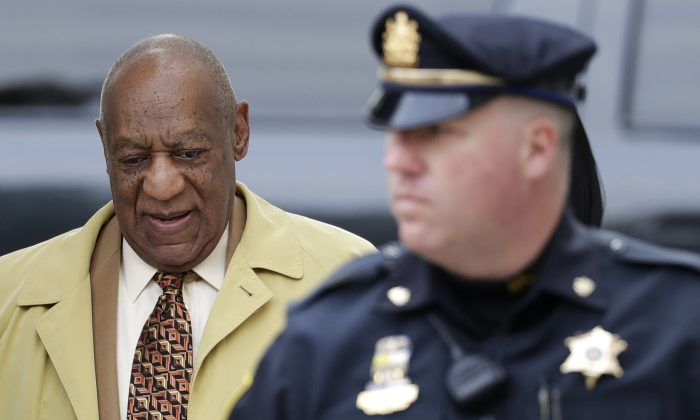 Bill Cosby arrives for a pretrial hearing in his sexual assault case at the Montgomery County Courthouse in Norristown, Pa., on Feb. 27, 2017. (AP Photo/Matt Slocum)