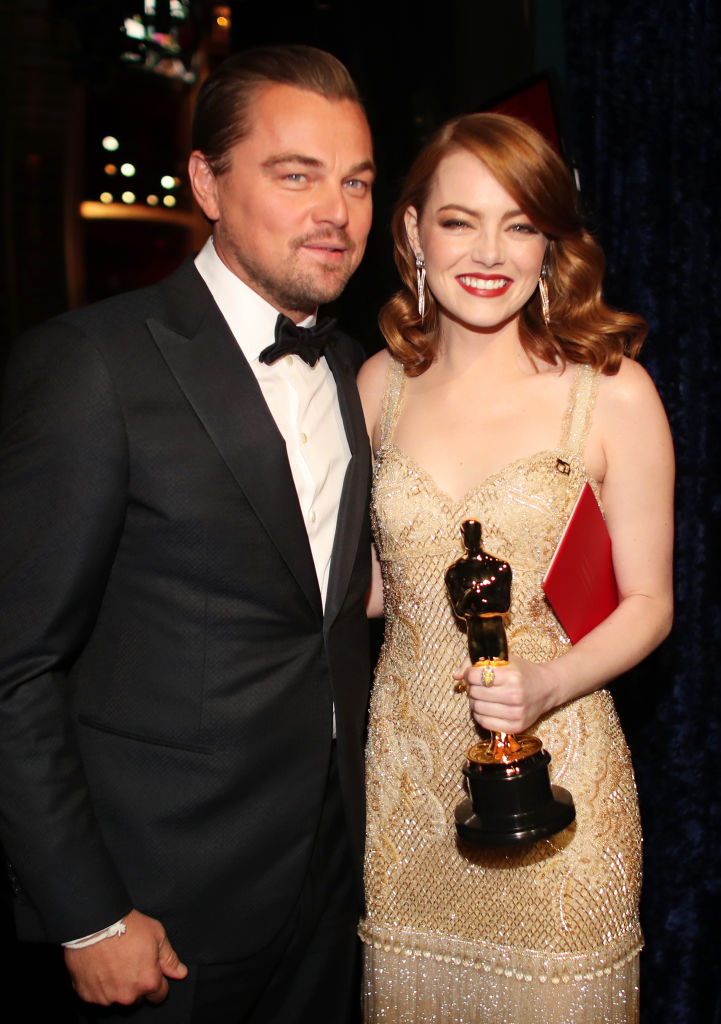 Actor Leonardo DiCaprio (L) and actress Emma Stone, winner of Best Actress for 'La La Land' backstage during the 89th Annual Academy Awards at Hollywood & Highland Center in Hollywood, CA., on Feb. 26, 2017.  (Christopher Polk/Getty Images)