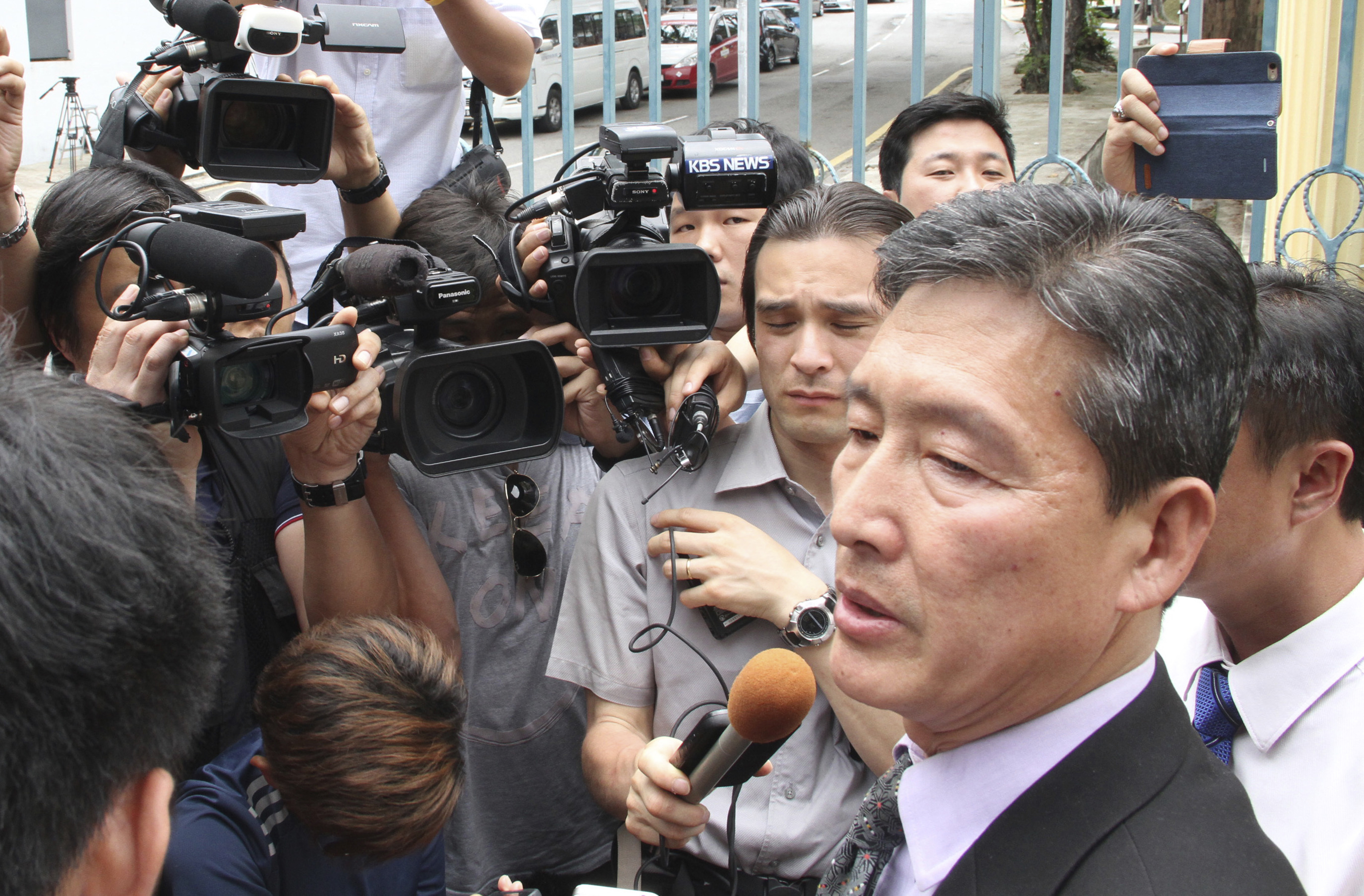Ri Tong Il, former North Korean deputy ambassador to the United Nations, speaks to reporters outside the North Korean embassy in Kuala Lumpur, Malaysia on Feb. 28, 2017.  (AP Photo)