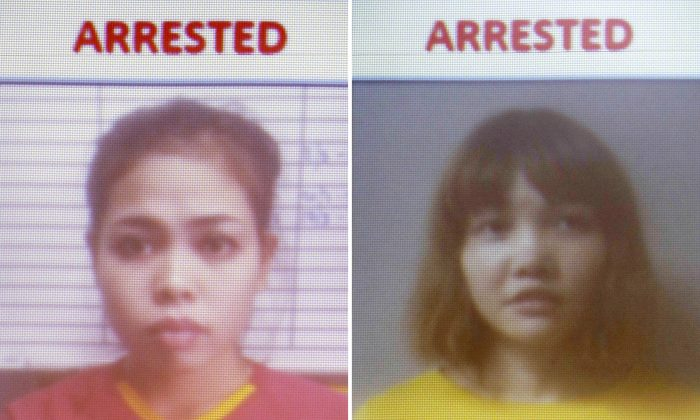 This combination of Feb. 19, 2017, photos released by Royal Malaysia Police shows detained Indonesian suspect Siti Aisyah (L) and detained Vietnamese suspect Doan Thi Huong are displayed on a screen during a press conference at the Bukit Aman national police headquarters in Kuala Lumpur, Malaysia. (Royal Malaysia Police via AP)