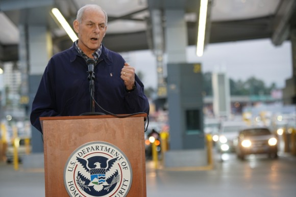 Department of Homeland Security Secretary John Kelly at the San Ysidro Port of Entry on Feb. 10, 2017. (SANDY HUFFAKER/AFP/Getty Images)