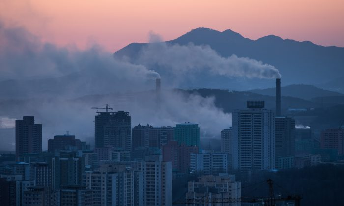 The chimneys of a power station amid the Pyongyang city skyline in North Korea on Feb. 17, 2017. (Ed Jones/AFP/Getty Images)