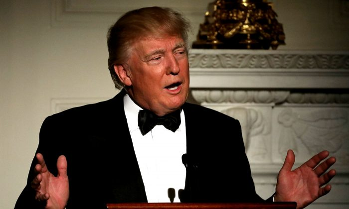 President Donald Trump delivers brief remarks before a toast during the annual Governors' Dinner in the East Room of the White House in Washington on Feb. 26, 2017. Part of the National Governors Association's annual meeting in the nation's capital, the black tie dinner and ball is the first formal event the Trumps will host at the White House since moving in last month. (Chip Somodevilla/Getty Images)