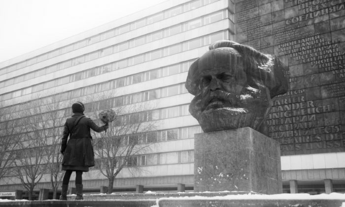 """The bust of Karl Marx, known as Karl Marx Monument, is seen in Chemnitz, Germany, in a scene from the documentary """"Karl Marx City."""" (Courtesy of TIFF)"""