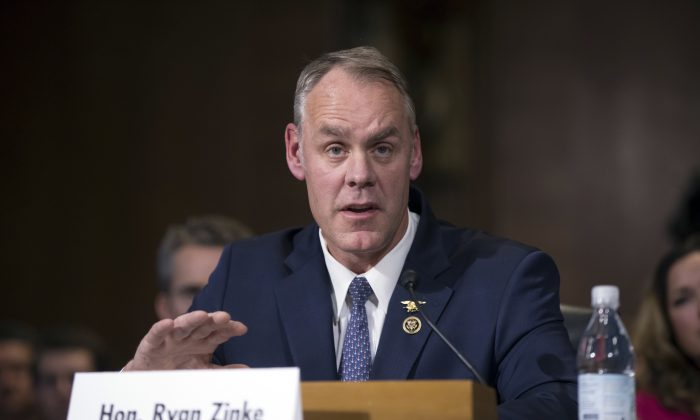 Interior Secretary-nominee, Rep. Ryan Zinke, R-Mont. testifies on Capitol Hill in Washington on Jan. 17, 2017. (AP Photo/J. Scott Applewhite)