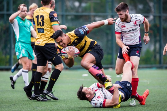 Furious action in the Tigers against HK Scottish Grand Championship quarter final match at The Rock, on Saturday Feb 26, 2017. (Dan Marchant)