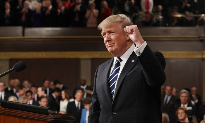President Donald Trump arrives to deliver an address to a joint session of the U.S. Congress in the House chamber of the U.S. Capitol in Washington on Feb. 28, 2017. (Jim Lo Scalzo - Pool/Getty Images)