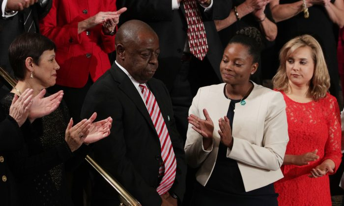 Jamiel Shaw, Sr., attends the joint session of Congress with President Donald Trump in the U.S. Capitol in Washington, D.C., on Feb. 28, 2017. (Alex Wong/Getty Images)