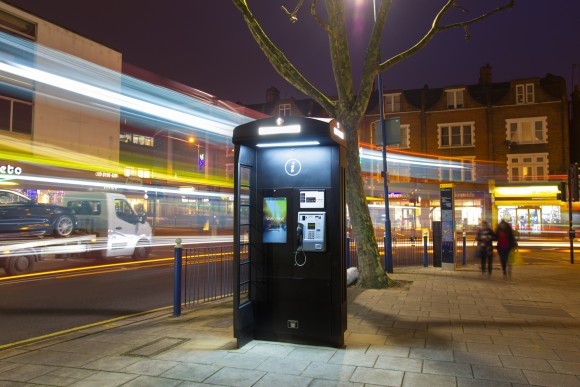 A New World Payphones phone box in Putney, west London. Most boxes have public Wi-Fi (though not the above one), which can present security risks (Courtesy New World Payphones)