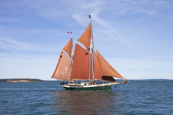 The Angelique windjammer, seen from the Victory Chimes. (Channaly Philipp/Epoch Times)