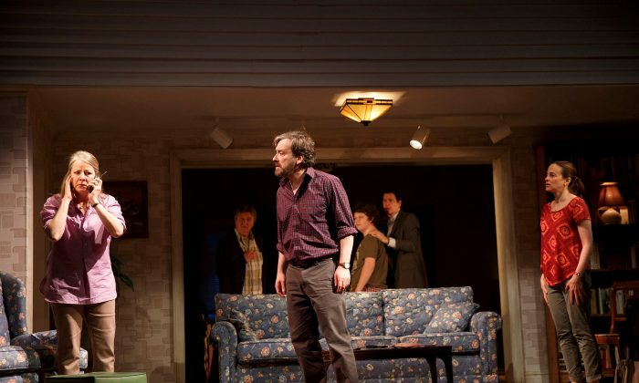 "(L–R) Tasha Lawrence, Larry Bryggman, Jeremy Shamos, Seth Steinberg, Gary Wilmes, Maria Dizzia play an extended family in ""If I Forget."" (Joan Marcus)"